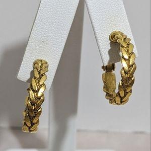 Vintage Gold Liz Claiborne Hoop Clip Earrings